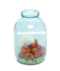 Fruit in glass bottle