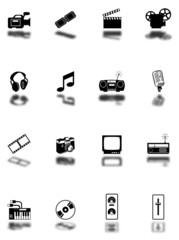 Media Icons with shadow