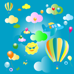 Printed roller blinds Airplanes, balloon background for kids, pattern