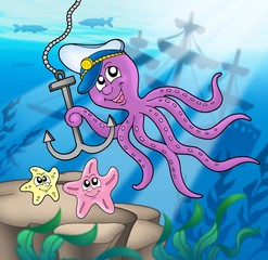 Fotobehang Piraten Octopus with anchor and starfishes
