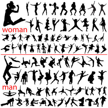 100 jumping people, woman and man.