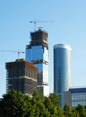 Construction of skyscrapers.
