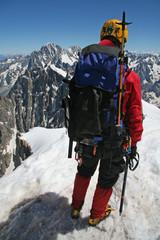 Alpiniste à l'Aiguille du Midi