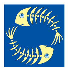 Pair of yellow fishbones on blue