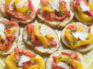 Open Tomato and Roasted Pepper Sandwich with Manchego Cheese