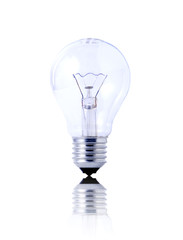 light bulb on white background with reflection