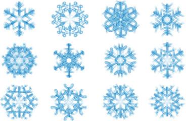 12 Schneeflocken, blau transparent