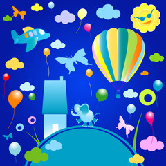Printed roller blinds Airplanes, balloon happy world