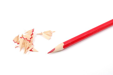 red pencil on white backround