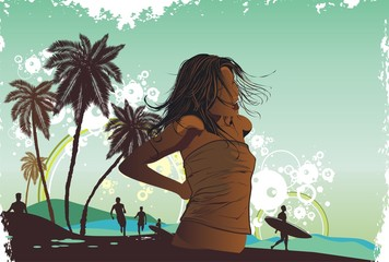 summer, island, palm trees on a beach,illustration