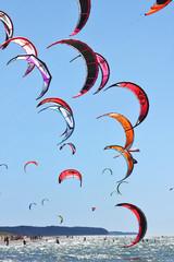 Kiteboarding kites in the sky