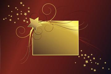 Goldener Rahmen mit Sternen vor rotem Hintergrund