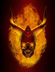 Horned Flaming Demon skull