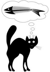 Cat dreams. Fun. Vector illustration. Black-and-white contour.