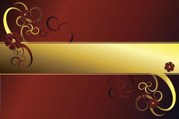 Goldener Rahmen mit Blüten vor rotem Hintergrund