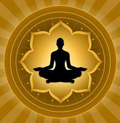 Obraz Joga - medytacja na tle lotosu - fototapety do salonu