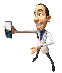 Docteur avec un téléphone portable
