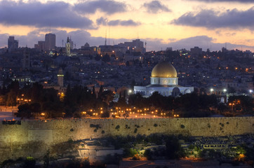 Old City of Jerusalem at sunset