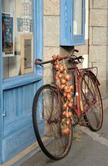 Oignons rosés et bicyclette