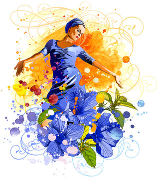The charming girl on an watercolor background, tropical flowers