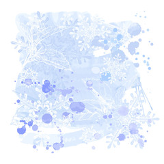 blue grunge watercolors background & snowflakes
