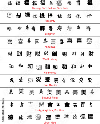 Vector Chinese Lucky Symbols With English Translation Stock Image