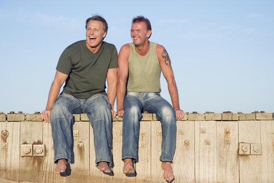 A happy gay couple on beach.