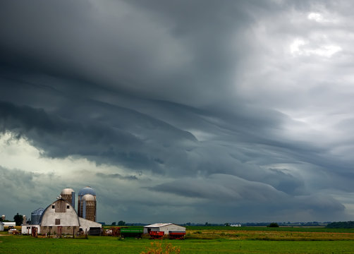 Dramatic storm clouds above a midwest rural scene