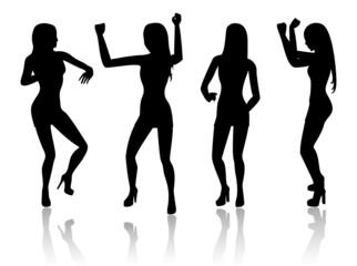 Four dancing women