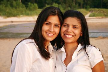 Best Friends Smiling Outdoors Portrait