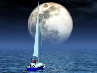 yacht au clair de lune