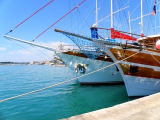 Wooden sailing boat in Split harbour