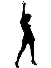 Vector girl silhouette against the white background