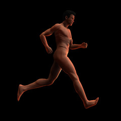 Nude man running. 3D illustration