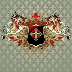 Ornate heraldic shield