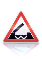 Panneau de danger pont mobile (reflet métal)