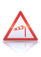Panneau de danger vent latéral (reflet métal)