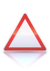 Panneau de danger vierge (reflet métal)