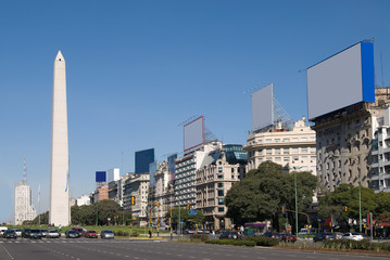 9 de Julio Avenue and The Obelisk in Buenos Aires, Argentina