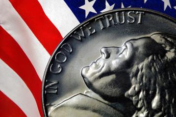 American Flag Reflected on Vintage 1967 United States Nickel
