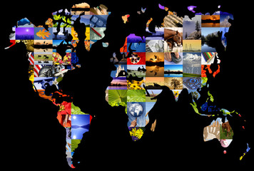 Collage of photographer's color photographs set over world map.
