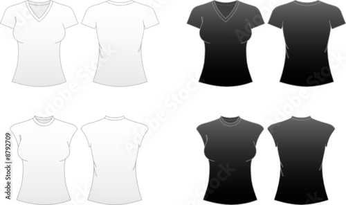 Women 39 s fitted t shirt templates v necked and capped for 3 4 sleeve shirt template