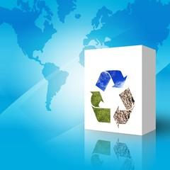 Caja con simbolo de reciclado Impreso