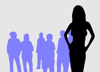 Vector Grafic Girl in front of Men