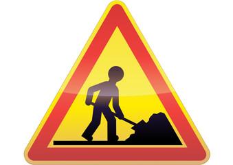 Panneau de danger travaux (métal détouré)