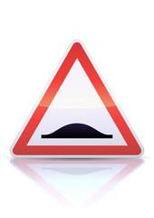 Panneau de danger ralentisseur (reflet métal)