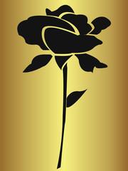 Rose noire sur fond doré