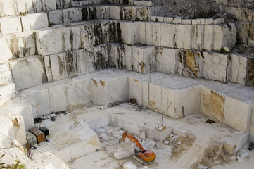 An open quarry of white marble