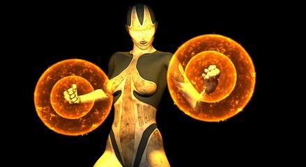 female cyborg powers up