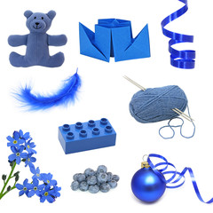 Learn colors. Collection of blue images.